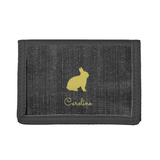 Cute Chic Yellow Bunny Denim Wallet