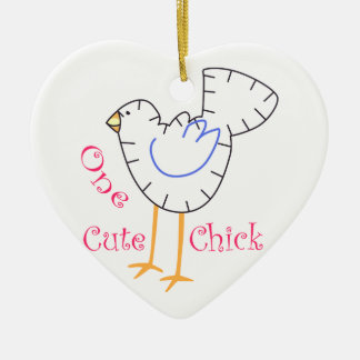 Cute Chick Applique Christmas Ornament