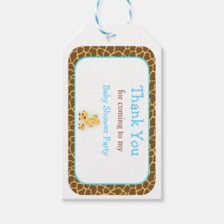Cute Chick Blue Giraffe Thank You Gift Tag
