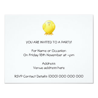 Cute Chick. Little Yellow Bird. 11 Cm X 14 Cm Invitation Card