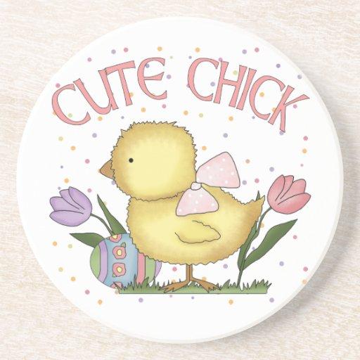 Cute Chick Sandstone Easter Coaster Drink Coaster