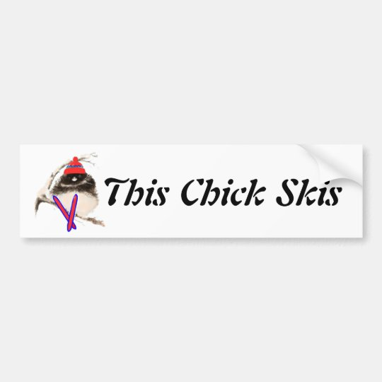 Cute Chick, Ski, Skiing, Little Bird Sports Bumper Sticker