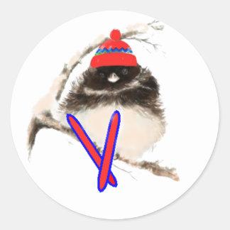 Cute Chick, Ski, Skiing, Little Bird Sports Round Sticker