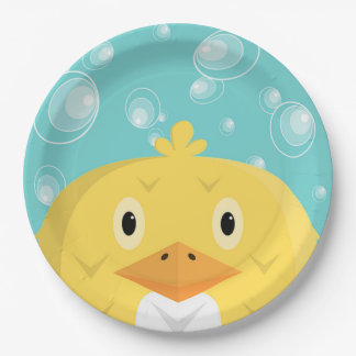 Cute Chick with Bubbles Paper Plate