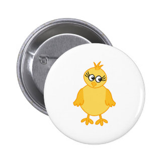 Cute Chick, Yellow Baby Bird. Button