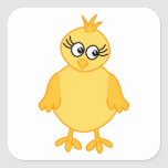 Cute Chick, Yellow Baby Bird. Square Sticker