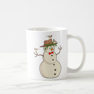 Cute Chickadee and Snowman, Winter Birds Coffee Mug