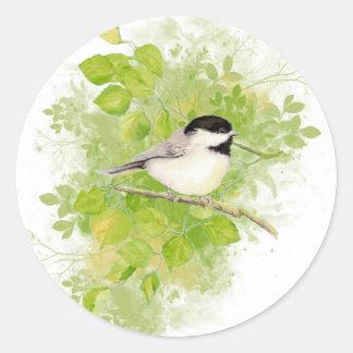 Cute Chickadee Bird in Poplar Tree Round Sticker