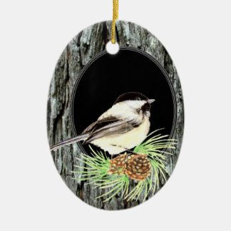 Cute Chickadee Bird in Tree, Nature, Wildlife Christmas Ornament