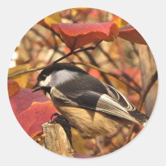 Cute Chickadee Bird with Pink Autumn Leaves Round Sticker