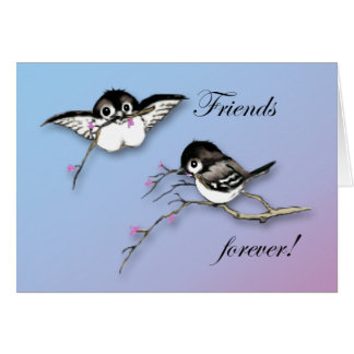 Cute Chickadees Card Friends Forever