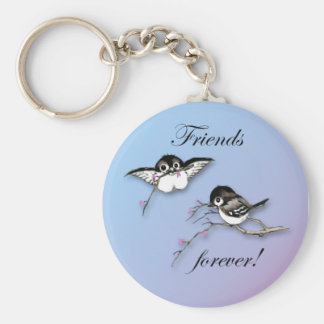 Cute Chickadees Friends Forever Keychain