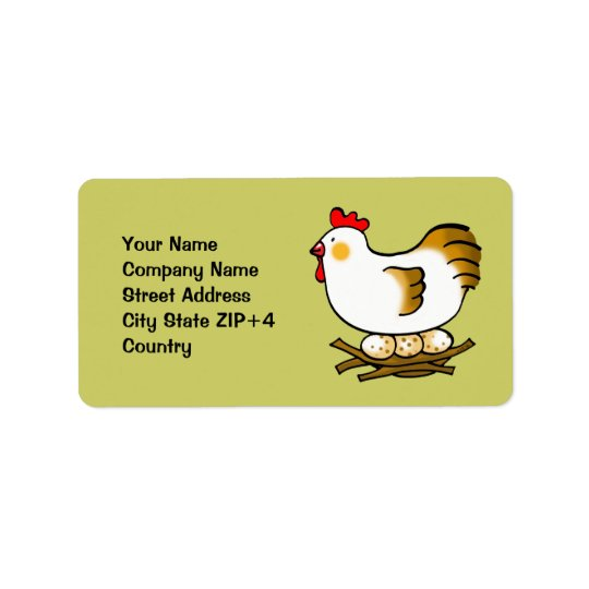 cute chicken and eggs address label