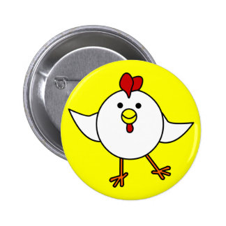 Cute Chicken Dance - White and Yellow Pinback Button