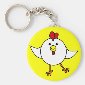 Cute Chicken Dance - White and Yellow Key Ring