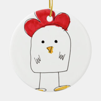 Cute Chicken Dolby Doodle Round Ceramic Decoration