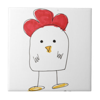 Cute Chicken Dolby Doodle Small Square Tile