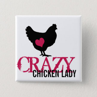 Cute Chicken with Pink Heart 15 Cm Square Badge