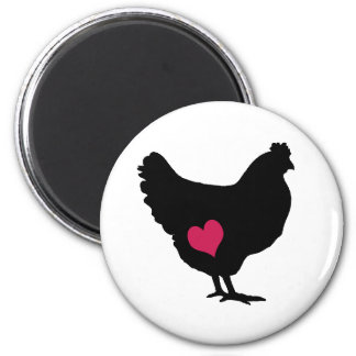 Cute Chicken with Pink Heart 6 Cm Round Magnet