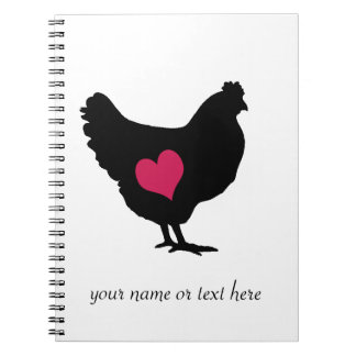 Cute Chicken with Pink Heart Notebook
