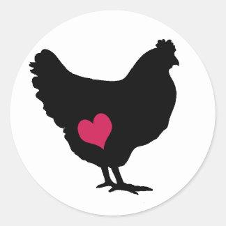 Cute Chicken with Pink Heart Round Sticker
