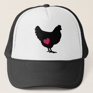 Cute Chicken with Pink Heart Trucker Hat
