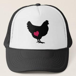 Cute Chicken with Pink Heart Trucker Hat