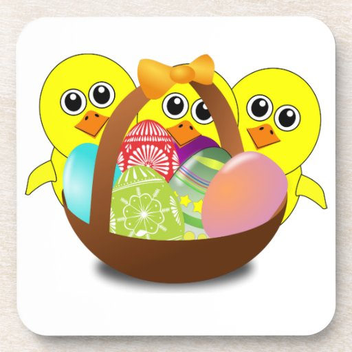 Cute Chicks Cartoon with Easter Eggs in a Basket Beverage Coasters