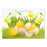 Cute Chicks, Eggs & Daffodils Easter Party 13 Cm X 18 Cm Invitation Card