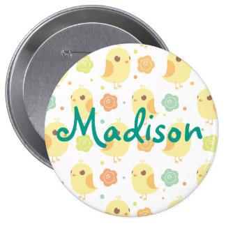 Cute Chicks & Flowers Pattern 10 Cm Round Badge