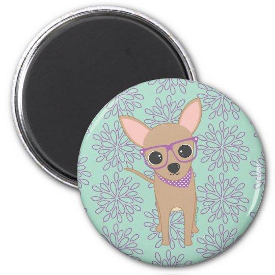 Cute Chihuahua 6 Cm Round Magnet
