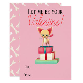 Cute Chihuahua Be My Valentine Valentine Card