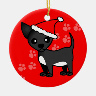 Cute Chihuahua Cartoon Santa Hat - Black Christmas Ornament