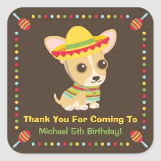 Cute Chihuahua Mexican Kids Fiesta Party Stickers