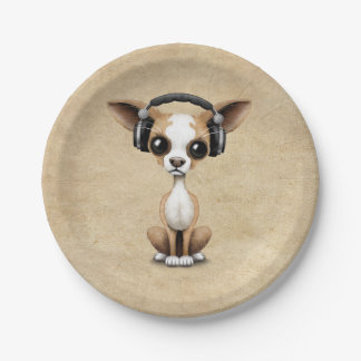 Cute Chihuahua Puppy Dj Wearing Headphones 7 Inch Paper Plate