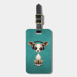 Cute Chihuahua Puppy Dj Wearing Headphones on Blue Luggage Tag