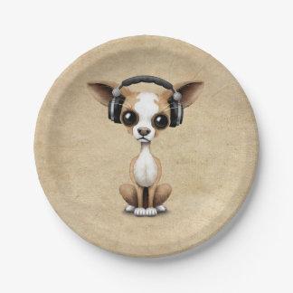Cute Chihuahua Puppy Dj Wearing Headphones Paper Plate