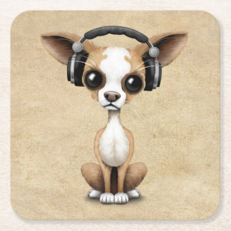 Cute Chihuahua Puppy Dj Wearing Headphones Square Paper Coaster