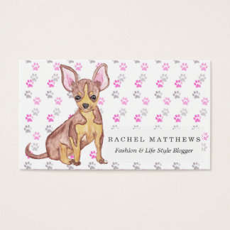 Cute Chihuahua Puppy in Watercolor and Paw Prints Business Card