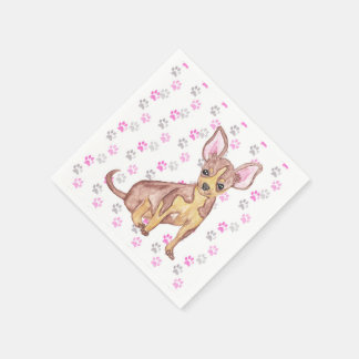 Cute Chihuahua Puppy in Watercolor and Paw Prints Paper Napkin