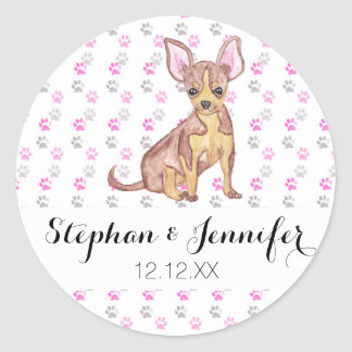 Cute Chihuahua Puppy in Watercolor and Paw Prints Round Sticker