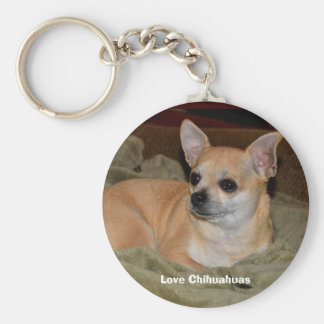 Cute Chihuahua Resting Basic Round Button Key Ring