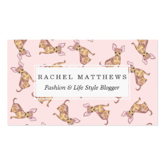 Cute Chihuahua Watercolor Painted Pink Brown Pack Of Standard Business Cards