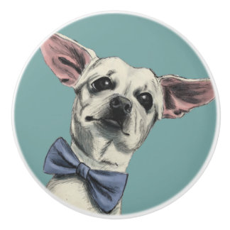 Cute Chihuahua with Bow Tie Drawing Ceramic Knob