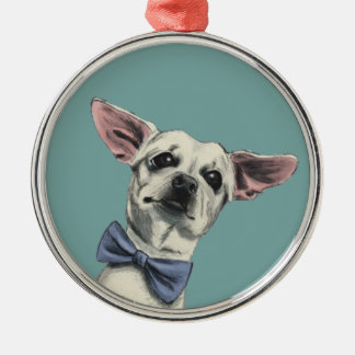 Cute Chihuahua with Bow Tie Drawing Christmas Ornament