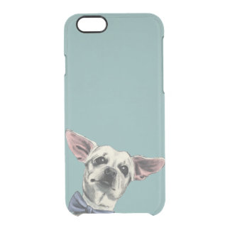 Cute Chihuahua with Bow Tie Drawing Clear iPhone 6/6S Case