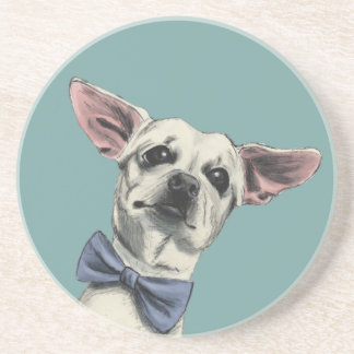 Cute Chihuahua with Bow Tie Drawing Coaster