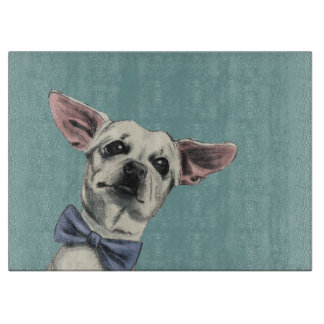 Cute Chihuahua with Bow Tie Drawing Cutting Board