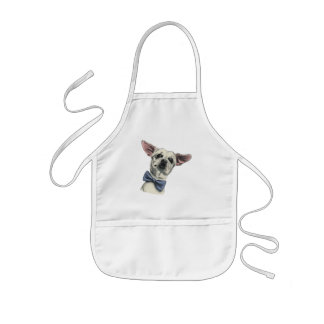 Cute Chihuahua with Bow Tie Drawing Kids Apron
