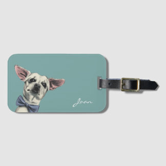 Cute Chihuahua with Bow Tie Drawing Luggage Tag